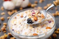 Gezond muesliontbijt met noten en rozijn Stock Afbeeldingen