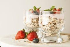 Gezond ontbijt, havermaaltijd met vruchten: bluebery, strawbery en min, parfait in een glas op een rustieke achtergrond Gezond vo royalty-vrije stock afbeelding