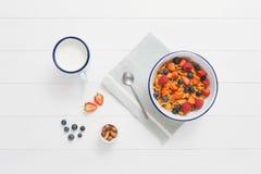 Gezond ontbijt met graangewassen en bessen in een emailkom Stock Afbeeldingen