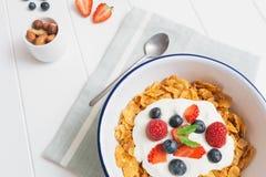 Gezond ontbijt met graangewassen en bessen in een emailkom Stock Foto's