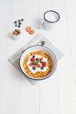 Gezond ontbijt met graangewassen en bessen in een emailkom Royalty-vrije Stock Foto's