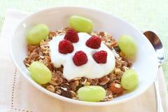 Gezond ontbijt met muesli, yoghurt en bessen Stock Afbeelding