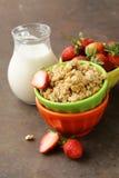 Gezond ontbijt van muesli, yoghurt, chiazaden Royalty-vrije Stock Afbeeldingen