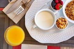 Gezond ontbijt Vers sap, granola, muesli met melk en bessen stock foto