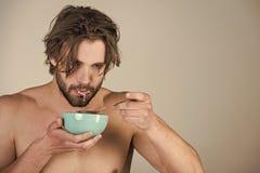 Gezond ontbijtvoedsel en schoonheid, gezondheid stock foto