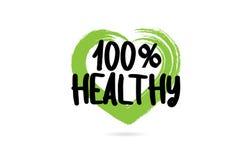 100% gezond tekstwoord met groen de vormpictogram van het liefdehart stock illustratie