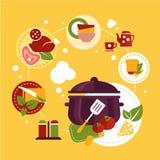 Gezond Vers Voedsel die het Koken Procédé afschilderen vector illustratie