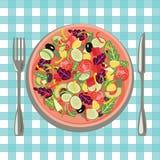 Gezond vers voedsel in een plaat en groenten op de bedelaars van een lijstdoek royalty-vrije illustratie