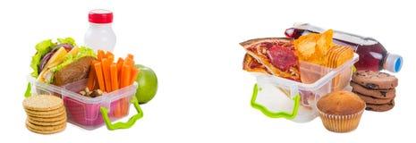 Gezond versus ongezonde lunchdozen Royalty-vrije Stock Foto