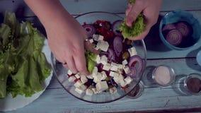 Gezond voedsel blad; gastronomisch; kaas; feta; het koken; stock videobeelden