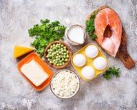 Gezond voedsel die vitamine D bevatten royalty-vrije stock foto