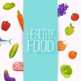 Gezond Voedsel en het Op dieet zijn concept Gezonde organische vers en natu vector illustratie