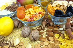 Gezond voedsel - gedroogd fruit Stock Foto