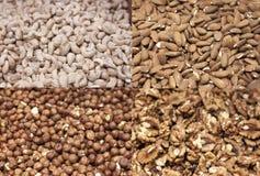 Gezond voedsel, gezonde noten, de voordelen van noten stock afbeelding