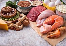 Gezond voedsel hoog in proteïne stock foto's
