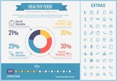 Gezond voedsel infographic malplaatje, elementen, pictogrammen royalty-vrije illustratie