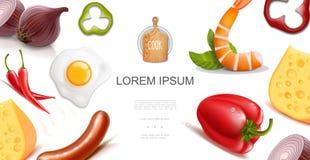 Gezond Voedsel Kleurrijk Malplaatje stock illustratie