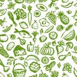 Gezond voedsel naadloos patroon, schets voor uw Stock Afbeelding