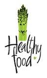 Gezond voedsel, ontwerpkaart met asperge Stock Foto