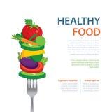 Gezond voedsel op de de het conceptenvruchten en groenten van het vorkdieet vector illustratie