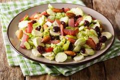 Gezond voedsel: salade van Spruitjes, Amerikaanse veenbessen, amandelen stock fotografie