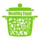 Gezond voedsel, vectorgroenten in de pan vector illustratie