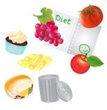 Gezond voedsel voor het Voedsel van Routin en Unhealthe-voor Vuilnisbak Royalty-vrije Stock Afbeeldingen