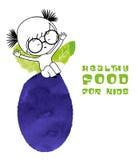 Gezond voedsel voor jonge geitjes vectorillustratie Stock Afbeelding