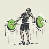 Gezond voedsel weightlifting stock illustratie