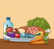 Gezond voedselbeeldverhaal vector illustratie
