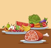Gezond voedselbeeldverhaal royalty-vrije illustratie