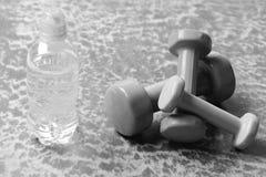 Gezond vorm en sportconcept Domoren van plastiek dichtbij waterfles worden gemaakt op de achtergrond die van Bourgondië Stock Fotografie