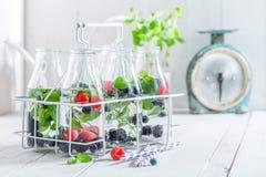 Gezond water in fles met bessen Royalty-vrije Stock Fotografie