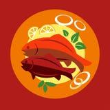 Gezond zeevruchtendiner met vissen vector illustratie