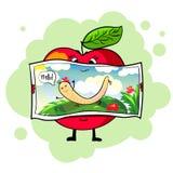 gezonde appel prentbriefkaar Stock Afbeeldingen