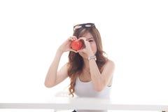 Gezonde Aziatische vrouw met vruchten Royalty-vrije Stock Afbeelding