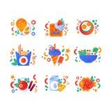 Gezonde biologische producten en snel voedselreeks, gebraden kip, Belgische wafel, noedelswok, geroosterde vissen, melk en kaas stock illustratie