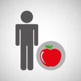 Gezonde de appelvoeding van de silhouetmens Stock Afbeelding