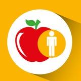 Gezonde de appelvoeding van de silhouetmens Stock Afbeeldingen