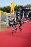 Gezonde de hometrainerovergang van de triatlon triathlete sport Stock Foto's