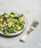 Gezonde de lente groene salade met groenten, erwt en ei royalty-vrije stock foto