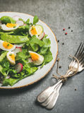 Gezonde de lente groene salade met groenten, erwt en gekookt ei royalty-vrije stock fotografie