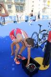 Gezonde de oefeningsovergang van de triatlon triathlete sport Stock Fotografie