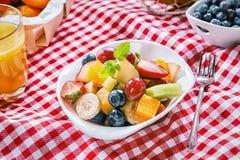 Gezonde de zomerpicknick met tropische fruitsalade Royalty-vrije Stock Afbeelding