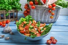Gezonde die salade met garnalen en groenten wordt gemaakt Royalty-vrije Stock Fotografie