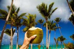 Gezonde drank op een Caraïbisch strand Ananas en kokosnoot handbediend op strand onder palmen royalty-vrije stock fotografie