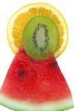 Gezonde drie vruchten pyramid.9024. Watermeloen, kiwi, sinaasappel, royalty-vrije stock foto's