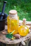 Gezonde en zoete likeur met alcohol, honing en linde stock fotografie