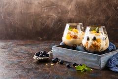 Gezonde gelaagde dessertkleinigheid stock foto