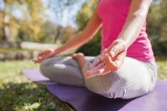 Gezonde Geschikte Vrouw die Yogameditatie in Aard doen stock afbeeldingen
